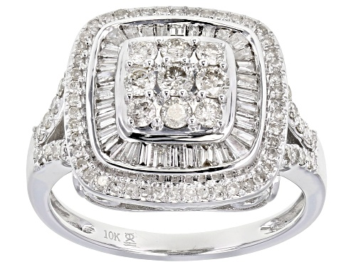 Photo of 1.00ctw Round And Baguette White Diamond 10k White Gold Ring - Size 8