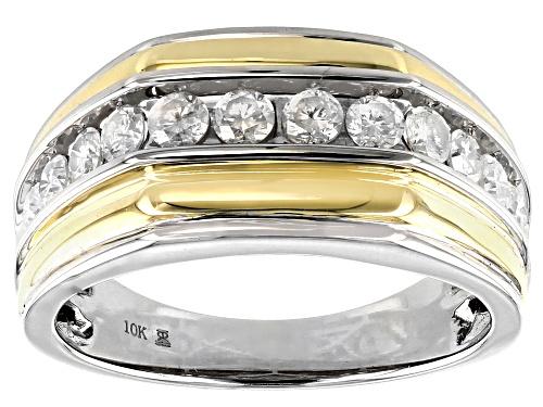 Photo of 1.00ctw Round White Diamond 10k White And Yellow Gold Mens Ring - Size 10
