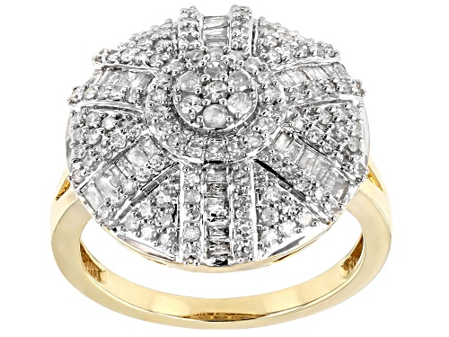 Photo of 0.90ctw Round And Baguette White Diamond 10k Yellow Gold Ring - Size 6