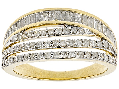 Photo of 0.84ctw Round And Baguette White Diamond 10k Yellow Gold Ring - Size 7