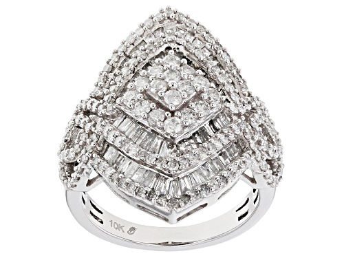Photo of 2.00ctw Round And Baguette White Diamond 10k White Gold Ring - Size 8