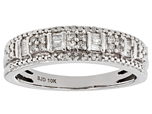 Photo of 0.20ctw Round And Baguette White Diamond 10k White Gold Ring - Size 8