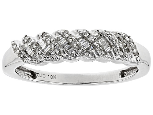 Photo of 0.20ctw Baguette And Round White Diamond 10k White Gold Ring - Size 8