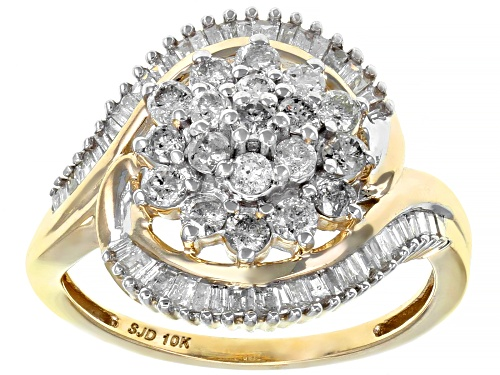 Photo of 1.00ctw Round and Baguette White Diamond 10K Yellow Gold Cluster Ring - Size 5