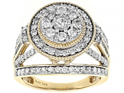 Photo of 1.50ctw Round and Baguette White Diamond 10K Yellow Gold Cocktail Ring - Size 8