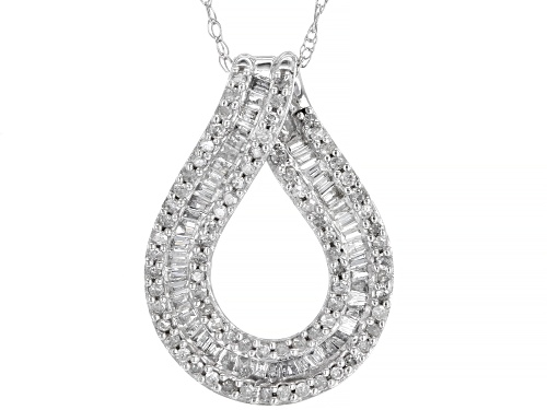 Photo of 0.50ctw Baguette And Round White Diamond 10K White Gold Pendant With Chain