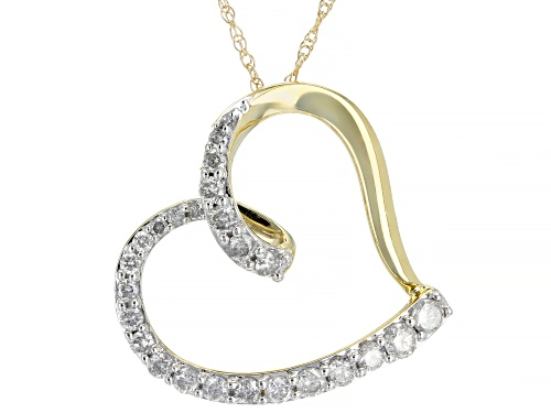 Photo of 0.50ctw Round White Diamond 10k Yellow Gold Pendant With 18inch Chain