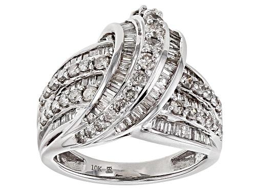 Photo of 1.50ctw Round & Baguette White Diamond 10k White Gold Ring - Size 6
