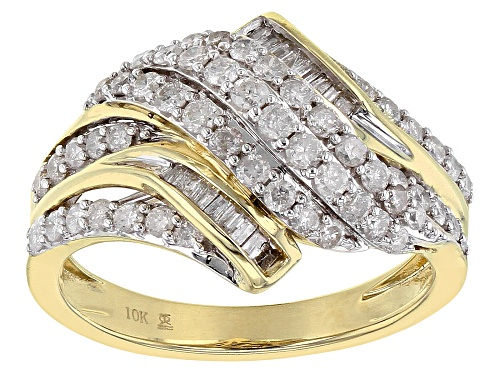 Photo of 1.00ctw Round & Baguette White Diamond 10k Yellow Gold Ring - Size 6