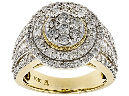 Photo of 2.00ctw Round And Baguette Diamond 10k Yellow Gold Ring - Size 9
