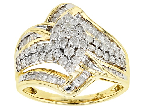 Photo of 1.00ctw Round & Baguette White Diamond 10k Yellow Gold Ring - Size 5