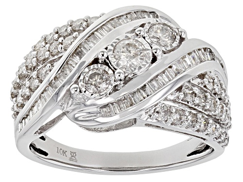 Photo of 1.00ctw Round And Baguette White Diamond 10k White Gold Ring - Size 7