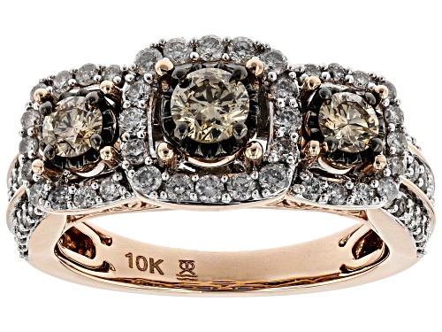 1.25ctw Round Champagne And White Diamond 10k Rose Gold Ring - Size 6
