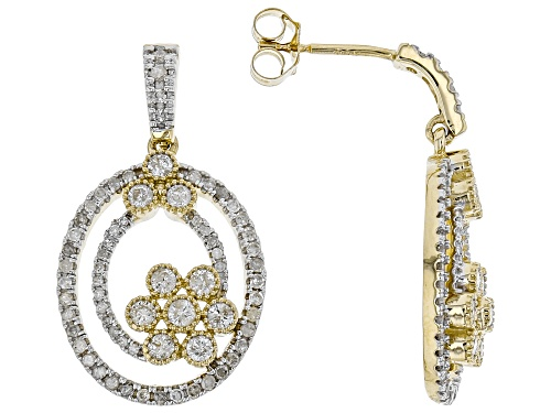 Photo of 0.82ctw Round White Diamond 10K Yellow Gold Earrings
