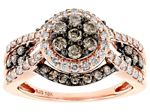 Photo of 1.00ctw Round Champagne And White Diamond 10K Rose Gold Cluster Ring - Size 6