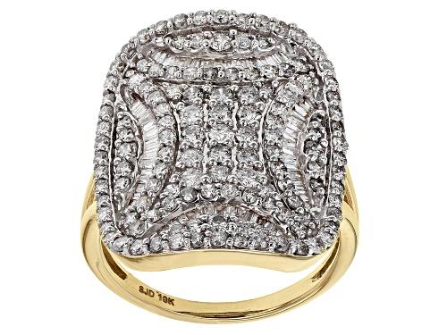 Photo of 1.80ctw Round And Baguette White Diamond 10K Yellow Gold Ring - Size 7