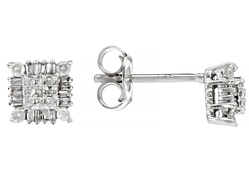 Photo of 0.30ctw Baguette And Round White Diamond 10K White Gold Earrings