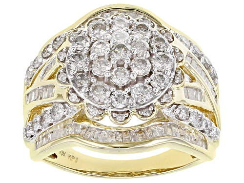 Photo of 2.00ctw Round And Baguette White Diamond 10K Yellow Gold Ring - Size 9