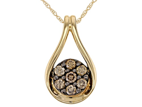 Photo of 0.50ctw Round Champagne Diamond 10K Yellow Gold Pendant With Chain