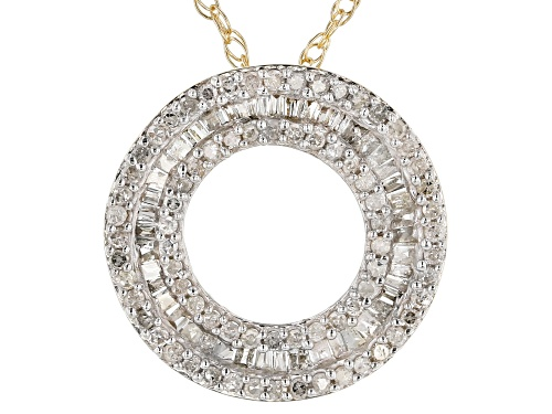 """Photo of 0.45ctw Baguette And Round White Diamond 10K Yellow Gold Pendant With 18"""" Rope Chain"""