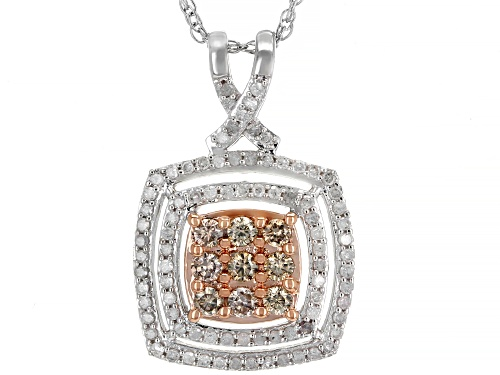 """Photo of 0.50ctw Round Champagne And White Diamond 10K White Gold Pendant With 18"""" Rope Chain"""