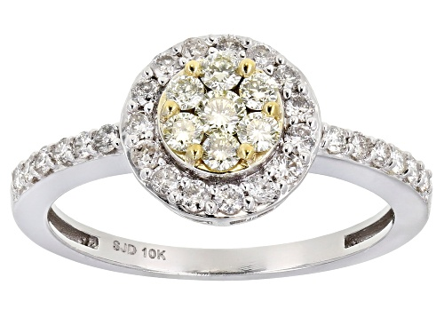 Photo of 0.65ctw Round White And Natural Yellow Diamond 10K White Gold Cluster Ring - Size 9