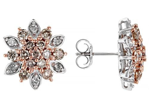 Photo of 1.50ctw Round Champagne & White Diamond 10K White Gold Earrings