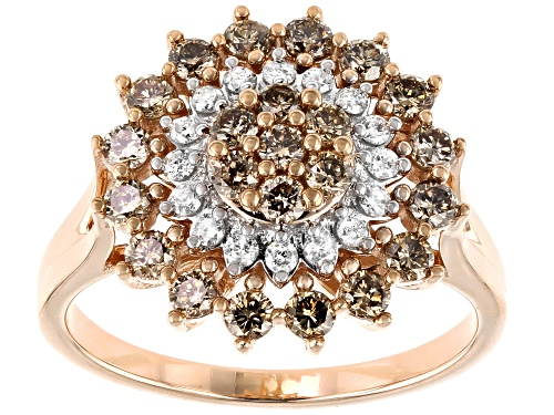 Photo of 1.00ctw Round Champagne And White Diamond 10K Rose Gold Ring - Size 5