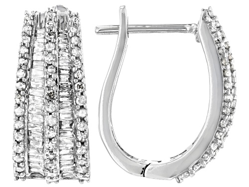 Photo of 1.00ctw Baguette And Round White Diamond 10K White Gold Earrings