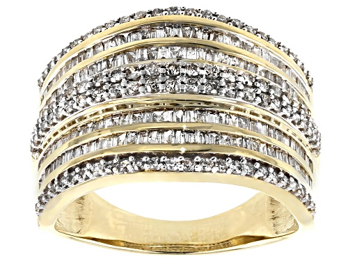Photo of 1.15ctw Baguette And Round White Diamond 10K Yellow Gold Multi-Row Ring - Size 5