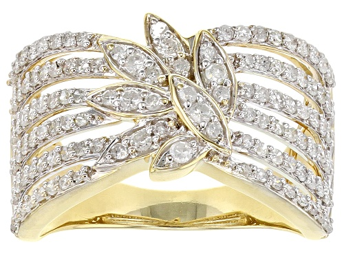 Photo of 0.90ctw Round White Diamond 10K Yellow Gold Open Design Ring - Size 6