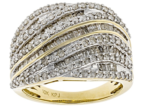Photo of 1.50ctw Round & Baguette White Diamond 10K Yellow Gold Ring - Size 5