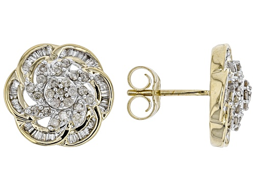 Photo of 0.55ctw Baguette & Round White Diamond 10K Yellow Gold Earrings