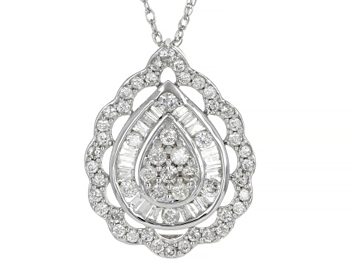 Photo of 1.00ctw Round & Baguette White Diamond 10K White Gold Pendant With 18 Inch Chain