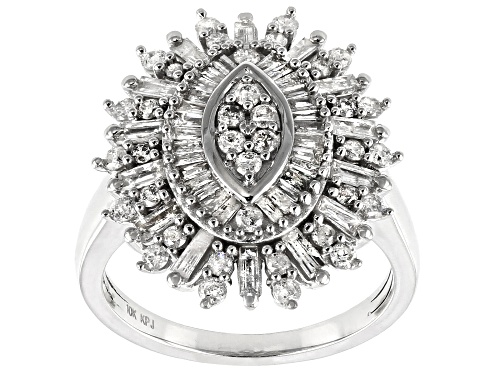 Photo of 1.25ctw Baguette And Round White Diamond 10K White Gold Cocktail Ring - Size 10