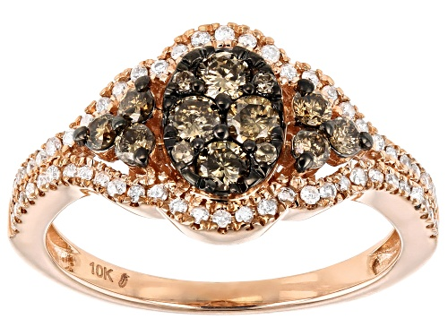 Photo of 0.75ctw Round Champagne & White Diamond 10K Rose Gold Ring - Size 8