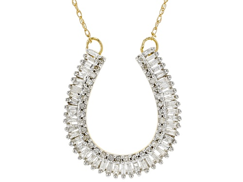 Photo of 0.50ctw Baguette & Round White Diamond 10K Yellow Gold Necklace - Size 18