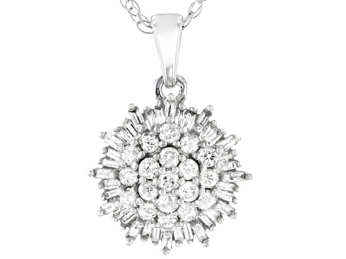 Photo of 0.45ctw Round & Baguette White Diamond 10K White Gold Pendant With 18 Inch Rope Chain