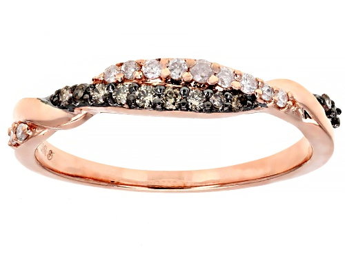 Photo of 0.20ctw Round Champagne & White Diamond 10K Rose Gold Ring - Size 7