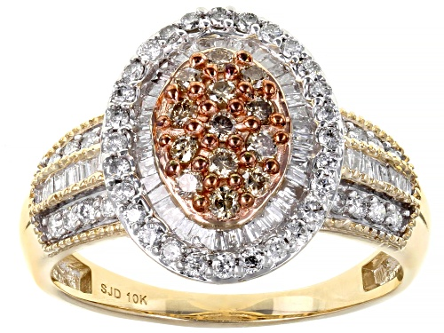 Photo of 1.00ctw Round & Baguette Champagne And White Diamond 10K Yellow Gold Ring - Size 5