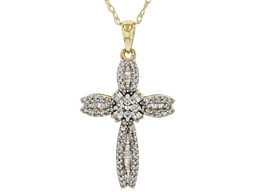 Photo of 0.40ctw Round & Baguette White Diamond 10K Yellow Gold Cross Pendant With 18 Inch Rope Chain