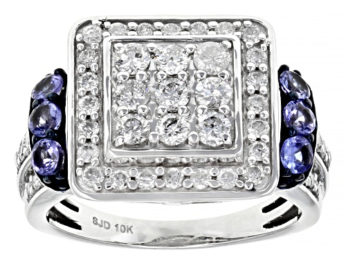 Photo of 1.00ctw Round White Diamond With 0.35ctw Round Blue Tanzanite 10k White Gold Cluster Ring - Size 6