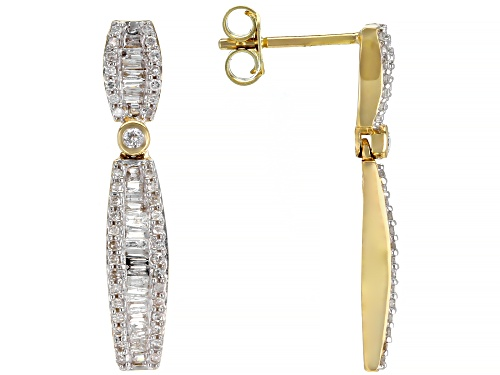 Photo of 0.60ctw Baguette And Round White Diamond 10k Yellow Gold Dangle Earrings