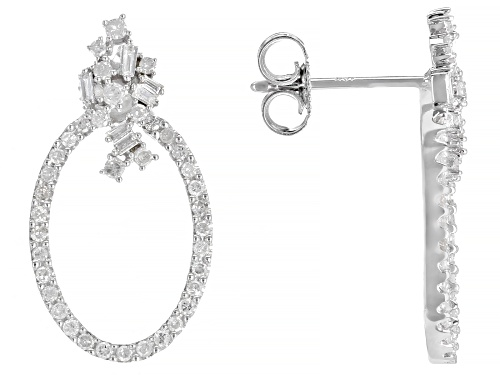 Photo of 0.50ctw Round & Baguette White Diamond 10K White Gold Earrings