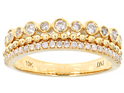 Photo of 0.39ctw Round White Diamond 10K Yellow Gold Band Ring - Size 10
