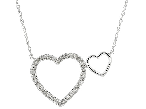 Photo of 0.16ctw Round White Diamond 10K White Gold Heart Necklace - Size 18