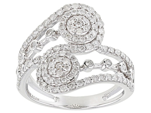 Photo of 0.90ctw Round White Diamond 14K White Gold Open Design Ring - Size 8