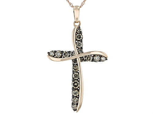Photo of 0.75ctw Round Champagne Diamond 10K Rose Gold Cross Pendant With 18 Inch Rope Chain