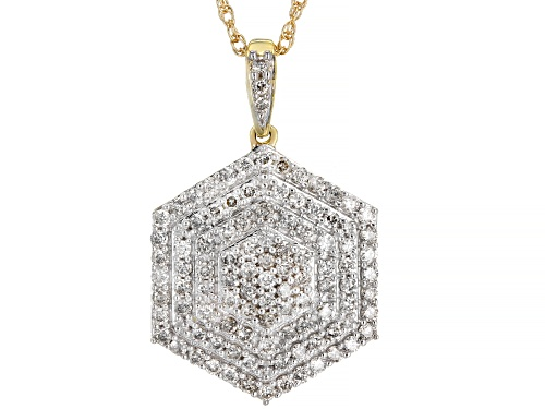 "Photo of 0.75ctw Round White Diamond 10k Yellow Gold Hexagon Cluster Pendant With 18"" Rope Chain"