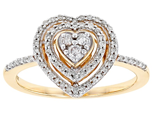 Photo of 0.25ctw Round White Diamond 10K Yellow Gold Heart Cluster Ring - Size 8